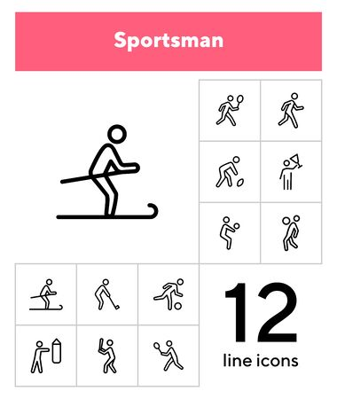 Sportsman line icon set. Football player, fighter, skier. Sport concept. Can be used for topics like activity, healthy lifestyle, competition