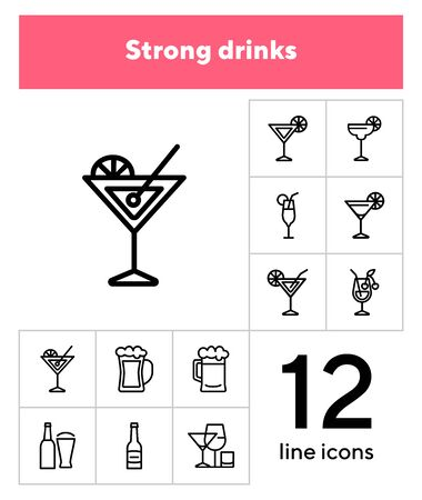 Strong drinks icons. Set of line icons on white background. Beer bottle, martini, margarita cocktail. Alcohol concept. Vector illustration can be used for topic like drinks, bar, menu Illusztráció