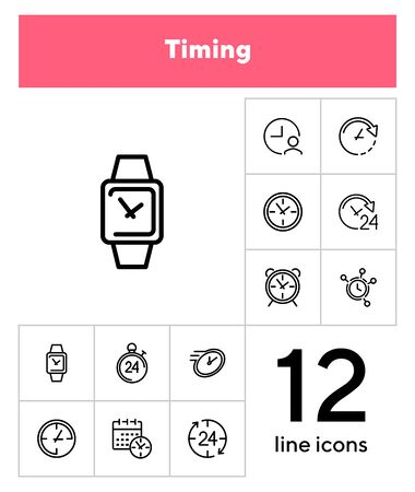 Timing line icon set. Clock, watch, calendar. Time concept. Can be used for topics like deadline, schedule, time management Foto de archivo - 133223077