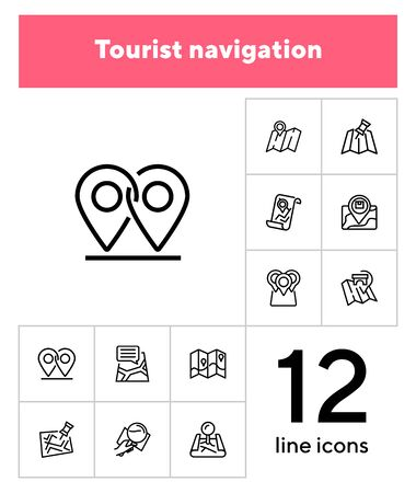 Tourist navigation icon set. Travel concept. Vector illustration can be used for topics like cruise, journey, holiday  イラスト・ベクター素材