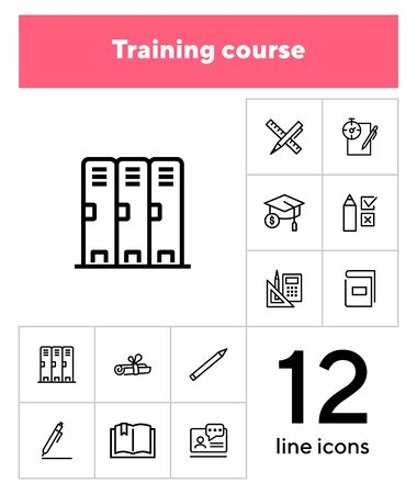Training course line icon set. Cabin, test, graduation cap. Education concept. Can be used for topics like university, school supplies, college 向量圖像