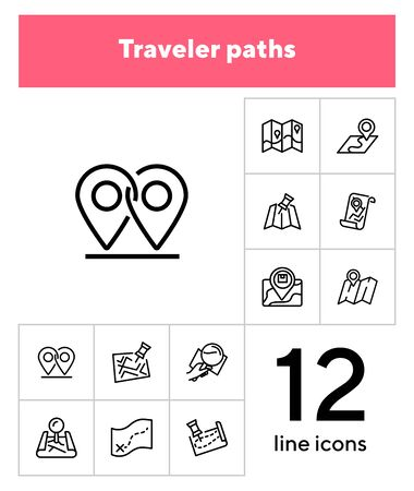 Traveler paths line icon set. Map, route, itinerary. Travel concept. Can be used for topics like navigation, location, guide Ilustração