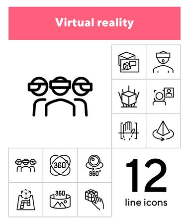 Virtual reality line icon set. Helmet, panorama, camera. Modern technology concept. Can be used for topics like augment reality, artificial intelligence, entertainment Иллюстрация