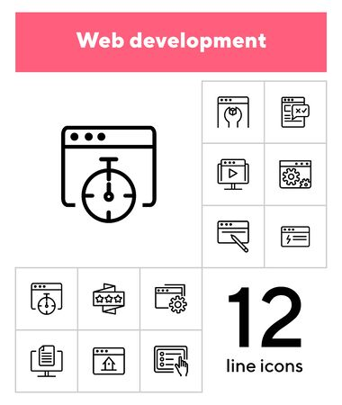 Web development icons. Set of line icons on white background. Homepage, setting folder, webinar. Computer using concept. Vector illustration can be used for topic like internet, technology, web design Иллюстрация