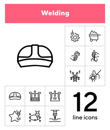 Welding line icon set. Set of line icons on white background. Engine concept. Monitor, worker, electricity. Vector illustration can be used for topics like machinery, automatic, factory