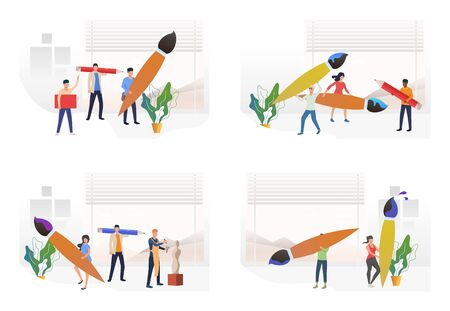 Art school set. Artist holding paintbrush, pencil, textbook. Flat vector illustrations. Workshop, drawing, education concept for banner, website design or landing web page