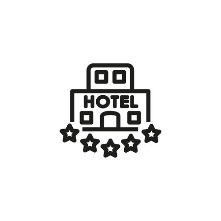 Five star hotel line icon. Hotel building, five star, assessment. Hotel concept. Vector illustration can be used for topics like hotel business, tourism, service industry