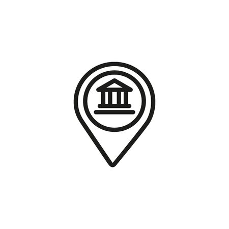 Museum location line icon. Location mark, map, navigation. Museum concept. Vector illustration can be used for topics like art, culture, tourism