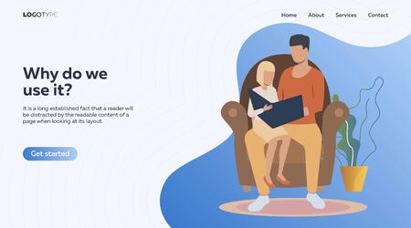 Dad reading fairy tale to daughter. Man and girl sitting in armchair, holding open book vector illustration. Family concept for banner, website design or landing web page