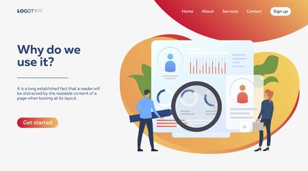 Employees studying personal statistics. Diagram, sales reports, efficiency vector illustration. Business concept for banner, website design or landing web page