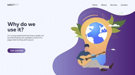 Musician playing acoustic guitar. Man with musical instrument, lightbulb, planet vector illustration. Music time concept for banner, website design or landing web page Ilustrace