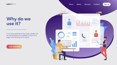 Two competitive employees analyzing personal graphs. Diagram, sales reports, competition vector illustration. Business concept for banner, website design or landing web page Ilustração