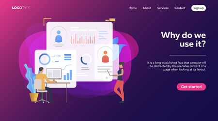 Two competitive managers constructing graphs. Diagram, sales reports, competition vector illustration. Business concept for banner, website design or landing web page