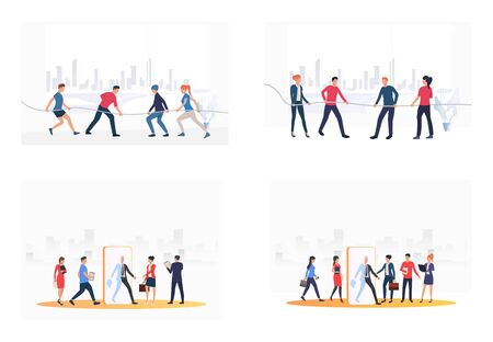 Teams competing in tug-of-war set. Business people walking through screen. Flat vector illustrations. Business, competition concept for banner, website design or landing web page