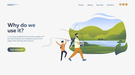 Father and son fishing. Sport, leisure, active lifestyle flat vector illustration. Outdoor activities concept for banner, website design, landing web page