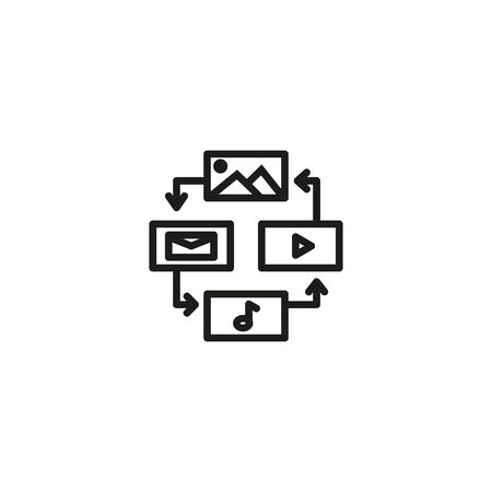 Content management line icon. Information, optimization, promotion. Content concept. Vector illustration can be used for topics like editing, advertising, business Ilustração