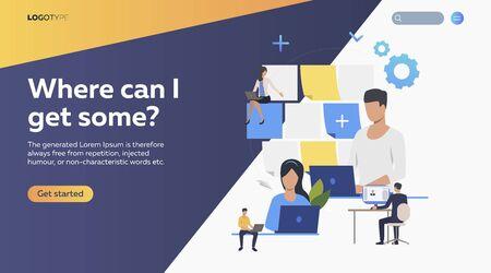 Employers planning work. Schedule, stickers, laptop flat vector illustration. Efficiency concept for banner, website design, landing web page