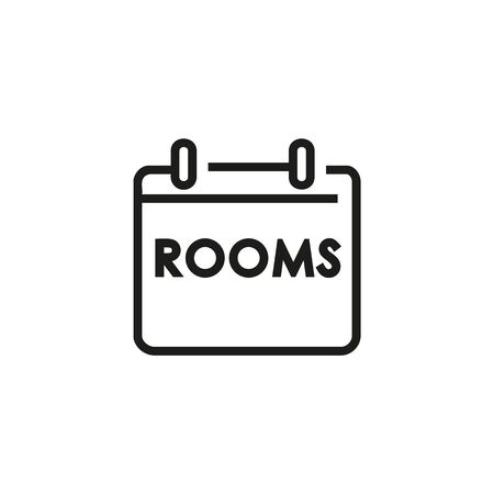 Available rooms line icon. Booking, vacant room, tablet. Hotel concept. Vector illustration can be used for topics like hotel business, tourism, service industry