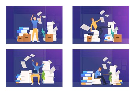 Employee annoyed with paperwork set. Man working among stacks of documents, throwing papers. Flat vector illustrations. Archive, paperwork concept for banner, website design or landing web page