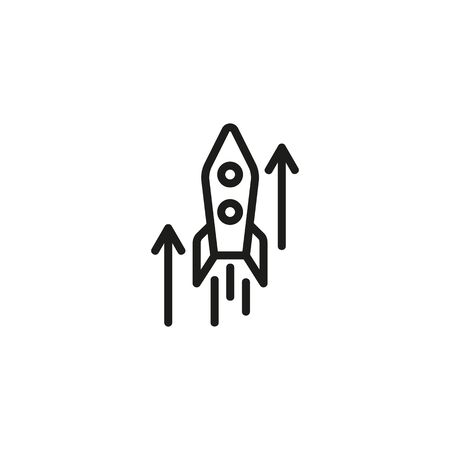 Business start up line icon. Rocket, hand, start up. Start up concept. Vector illustration can be used for topics like business, development, funding