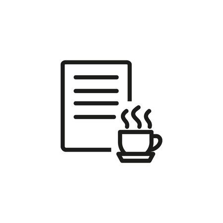 Content creator line icon. Writer, creator, cup. Content concept. Vector illustration can be used for topics like editing, advertising, business