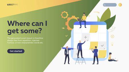People planning work. Schedule, stickers, laptop flat vector illustration. Efficiency concept for banner, website design, landing web page