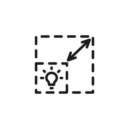 Scalability line icon. Measuring, scale, bulb. Start up concept. Vector illustration can be used for topics like business, development, funding 向量圖像
