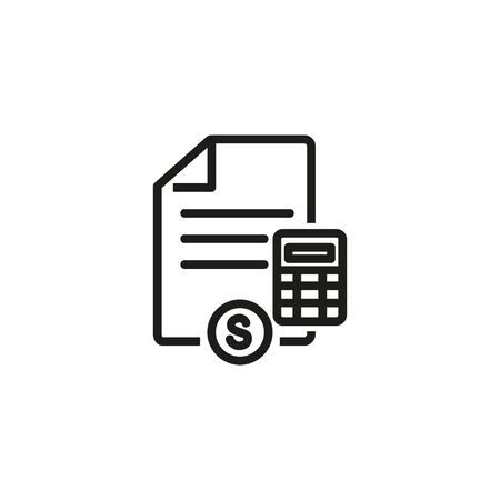 Budget line icon. Document, calculator, dollar sign. Start up concept. Vector illustration can be used for topics like business, development, funding 일러스트