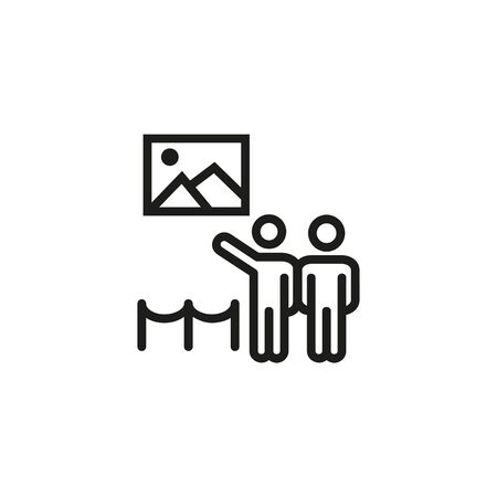 Art gallery line icon. Visitors, pictures, exhibition. Museum concept. Vector illustration can be used for topics like art, culture, tourism Vector Illustration