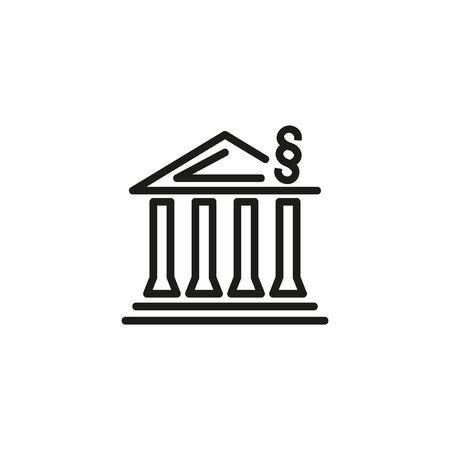 법과 질서 라인 아이콘입니다. 건물, 관리, 집행. 정부 개념입니다. 벡터 일러스트레이션은 공공 서비스, 정치, 경영진과 같은 주제에 사용할 수 있습니다.