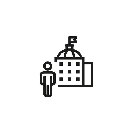 Government official line icon. Building, administration, representative. Government concept. Vector illustration can be used for topics like public services, politics, executive