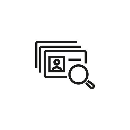 Head hunting line icon. ID cards, magnifier, searching. HR concept. Vector illustration can be used for topics like work search, headhunting, business Иллюстрация