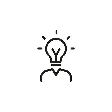 HR line icon. Human resources manager, bulb, bright. HR concept. Vector illustration can be used for topics like work search, headhunting, business
