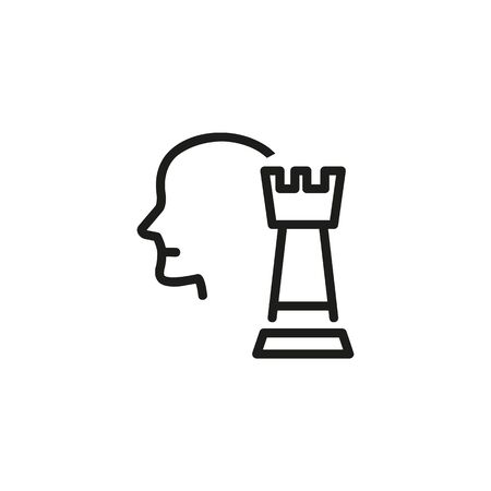 HR manager line icon. Human resources manager, head, chessman. HR concept. Vector illustration can be used for topics like work search, headhunting, business Ilustração