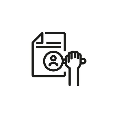 HR search line icon. CV, candidate, magnifier. HR concept. Vector illustration can be used for topics like work search, headhunting, business Ilustração