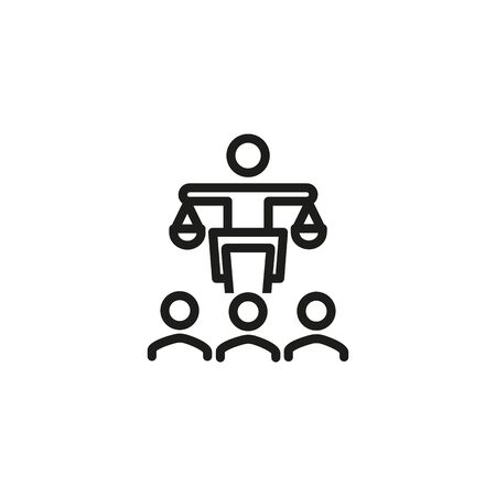 Justice system line icon. Court, judge, justice. Government concept. Vector illustration can be used for topics like public services, politics, executive