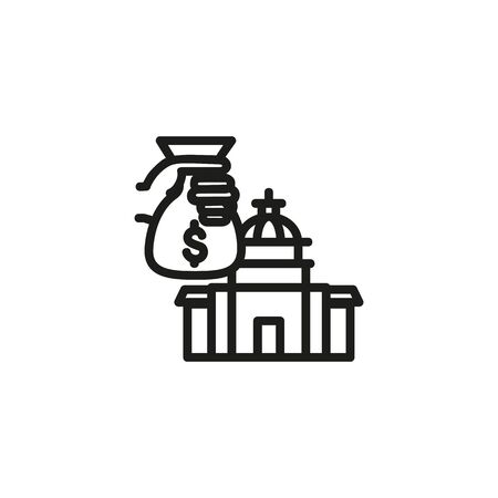 VAT line icon. Money, hand, building. Government concept. Vector illustration can be used for topics like public services, politics, executive Banque d'images - 133300511