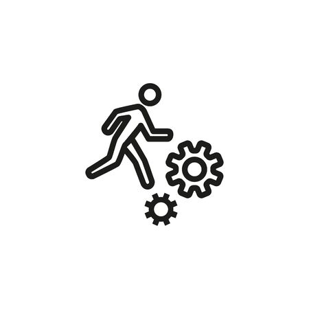 Employee thin line icon. Man running on gears isolated outline sign. Job search concept. Vector illustration symbol element for web design and apps Ilustracja