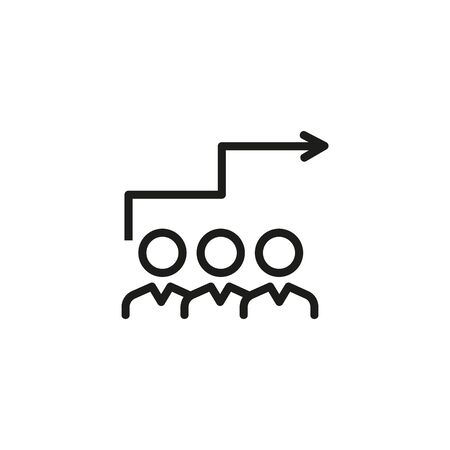 Career competition thin line icon. Group of employees and arrow stairs isolated outline sign. Job search concept. Vector illustration symbol element for web design and apps Ilustração