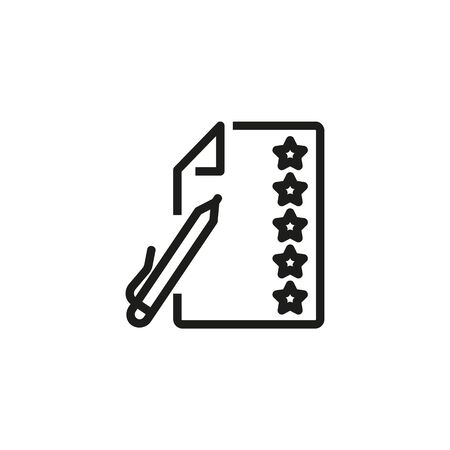 Feedback thin line icon. Survey, top five, questionnaire isolated outline sign. Customer satisfaction concept. Vector illustration symbol element for web design and apps