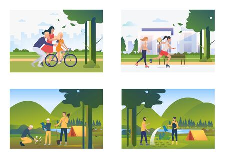 Set of images of people spending time with family and friends. Gardening, cycling, rollerblading. Vector illustration with leisure concept for banner, website design or landing web page