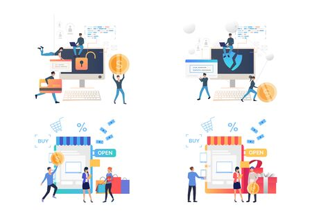 Set of people creating passwords for protecting shopping sites. Vector illustrations. Development, optimization, teamwork. Cybercrime and online shopping concept for website design or landing web page