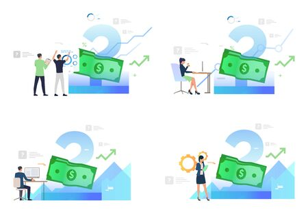 Set of people working on computers with finances. Flat vector illustrations. Development, optimization. Money, bank note, currency. Finance concept for banner, website design or landing web page Ilustracja