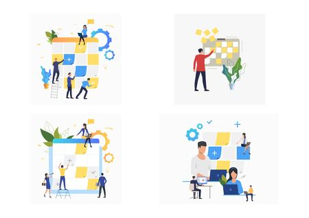 Set of colleagues planning work process. Flat vector illustrations of workers creating schedule. Business concept for banner, website design or landing web page Ilustracja