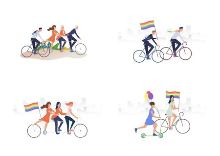 Set of people riding bikes. Flat vector illustrations of people with rainbow flags. LGBT concept for banner, website design, landing web page