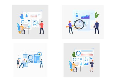Set of HR managers examining profiles and charts. Flat vector illustrations of managers hiring staff. Recruitment concept for banner, website design or landing web page Ilustracja