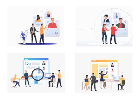 Set of HR managers searching for resources. Flat vector illustrations of managers hiring staff. Recruitment concept for banner, website design or landing web page