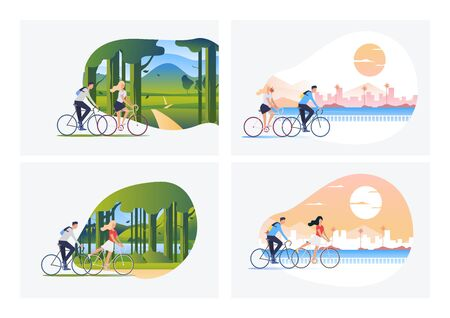 Set of man and woman riding bikes. Flat vector illustrations of couples riding bicycles. Outdoor activities concept for banner, website design, landing web page