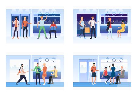 Set of people riding the subway. Flat vector illustrations of man and woman travelling by tube. Way to work concept banner, website design or landing web page