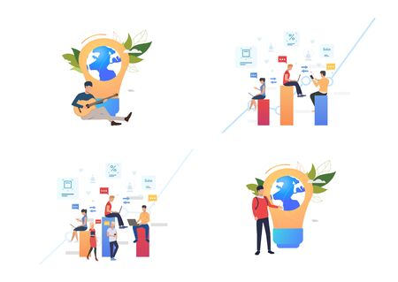 Set of people using gadgets for communication. Flat vector illustrations of man and woman sending messages. Communication concept for banner, website design or landing web page
